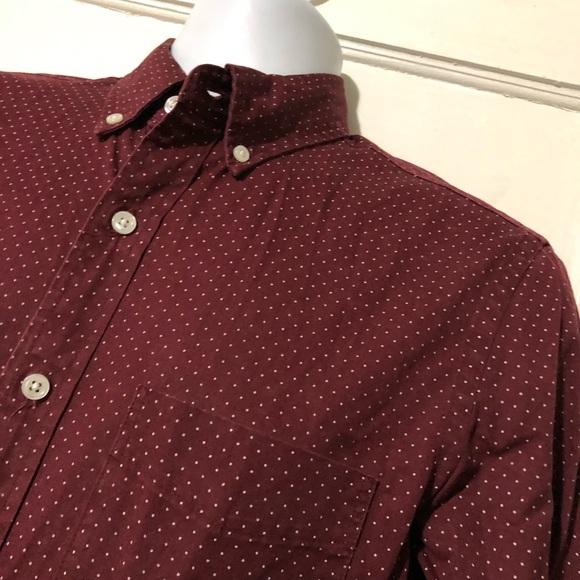 J. Crew Small Polka Dot Slim Fit Cabernet Button Down Shirt 06778